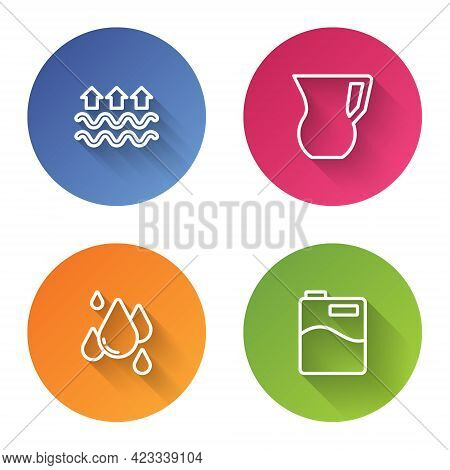 Set Line Waves Of Water And Evaporation, Jug Glass With, Water Drop And Big Bottle Clean. Color Circ