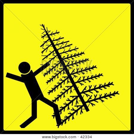Falling Christmas Tree Warning Sign