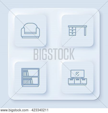 Set Line Armchair, Office Desk, Library Bookshelf And Tv Table Stand. White Square Button. Vector