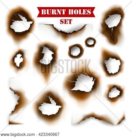 White Torn Sheet Of Paper With Burnt Holes Background Flat Vector Illustration