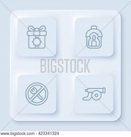 Set Line Gift Box, Ramadan Kareem Lantern, Fasting And Cannon. White Square Button. Vector