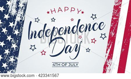 4Th Of July Greeting Card With Brush Stroke Background In United States National Flag Colors And Han