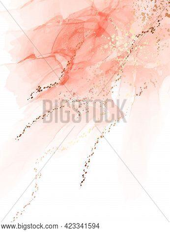 Pink Digital Paper Background, Salmon Abstarct Texture Painting, Acohol Ink Aquarelle Art Gold Foil