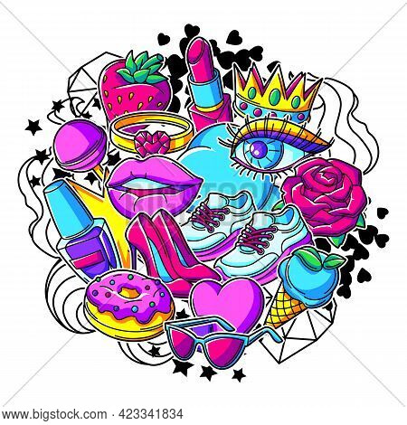 Print With Fashion Girlish Patches. Colorful Cute Teenage Illustration.