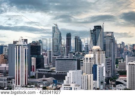 Crowded City With High Rise Building In Downtown At Business District