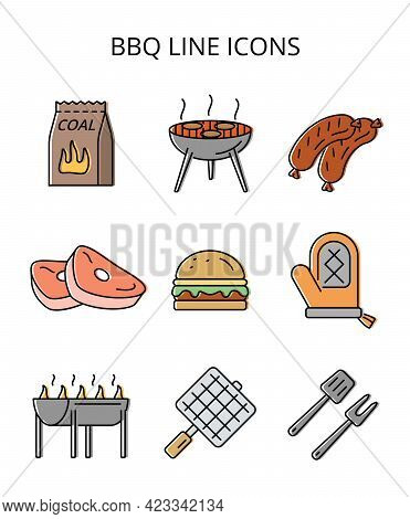 Grilling Food. Set Of Colored Vector Icons In Flat Style