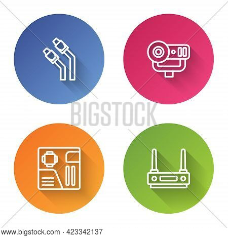 Set Line Lan Cable Network Internet, Web Camera, Motherboard Digital Chip And Router And Wi-fi Signa