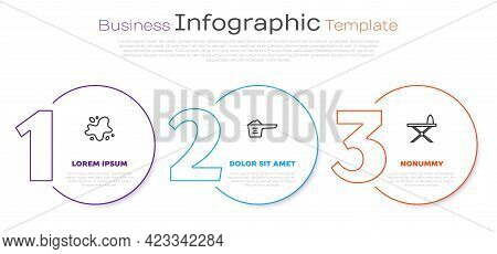 Set Line Water Spill, Washing Powder And Iron And Ironing Board. Business Infographic Template. Vect