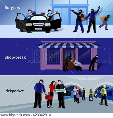 Horizontal Armed Burglars And Criminals Committing Thefts In Bank Shop And Metro Flat Banners Isolat