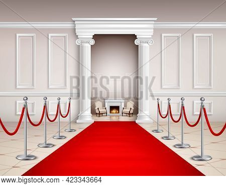 Victorian Style Hall With Red Carpet Silvery Barriers Armchairs And Fireplace Realistic Vector Illus