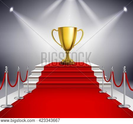 Golden Trophy On White Stairs Covered With Red Carpet And Illuminated By Spotlight Realistic Vector