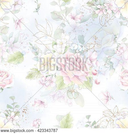 Seamless Pattern. Spring Delicate Rose Flowers. Digital Printing