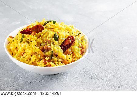 Lemon Rice Is A South Indian Turmeric Rice Or Maharashtrian Recipe Called Fodnicha Bhat Using Leftov