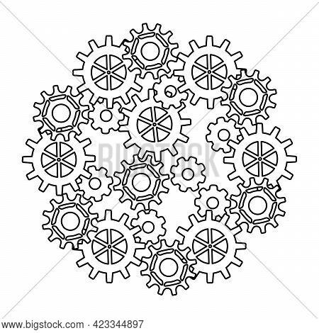 Clockwork Movement. Steampunk.the Concept Of Well-coordinated Teamwork. Metal Parts, Gears.