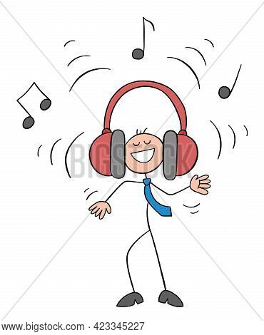 Stickman Businessman Character Listening To Loud Music With Big Earphones, Vector Cartoon Illustrati