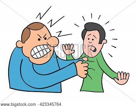 Cartoon Angry Man Grabs Man's Collar, Vector Illustration. Black Outlined And Colored.