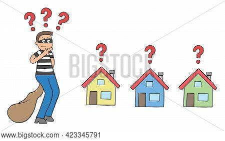 Cartoon Thief Man Thinks Which House To Rob, Vector Illustration. Black Outlined And Colored.