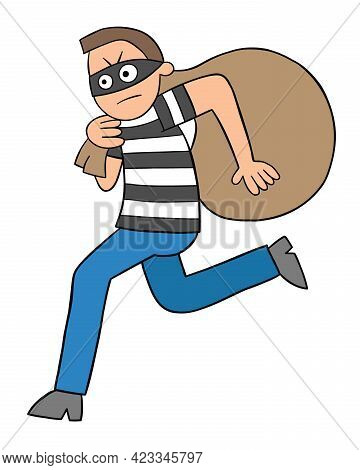 Cartoon Thief Man Running Away With Sack, Vector Illustration. Black Outlined And Colored.
