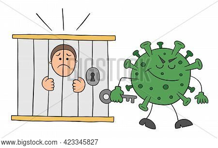 Cartoon Coronavirus Monster Locked The Man In Jail, Vector Illustration. Black Outlined And Colored.
