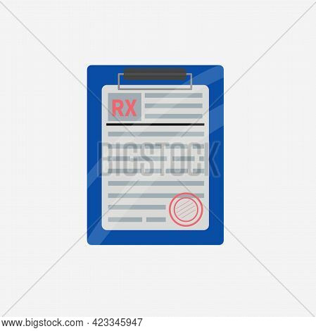 Rx Prescription Form On Clipboard. Rx Form