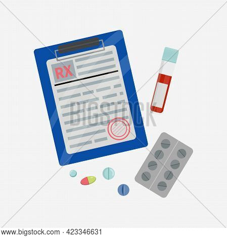 Rx Form Doctor Prescription Blank With Drugs Pills