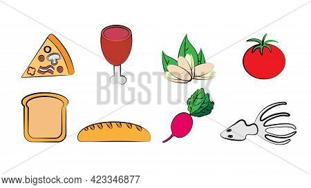 A Set Of Eight Icons Of Items Of Delicious Food And Snacks For A Cafe Bar Restaurant On A White Back