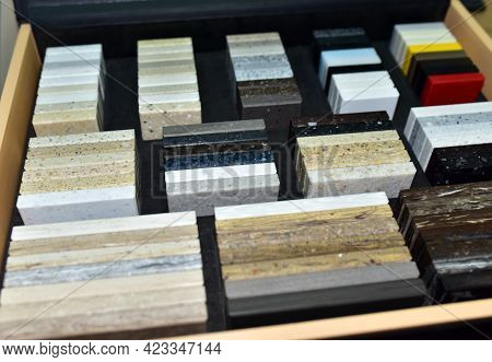 Samples Of Acrylic Artificial Stone For Countertops. Artificial Stone For Interior Decoration In The