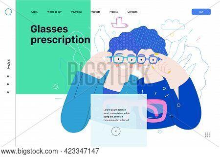 Opticians Shop - Medical Insurance Illustration. Modern Flat Vector