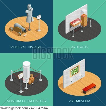 Museum 2x2 Compositions Presenting Different Exhibitions Prehistory Medieval History Artifacts And A