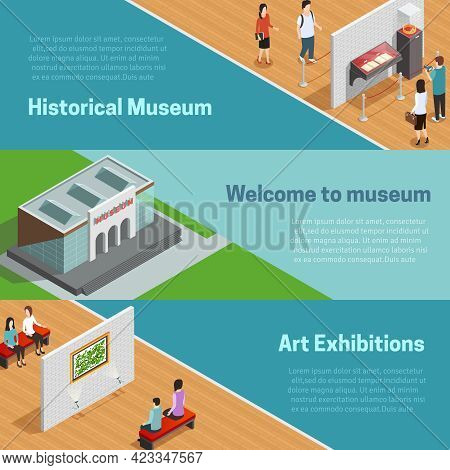 Historical And Art Exhibitions With Scenes In Galleries And Welcome To Museum Horizontal Isometric B