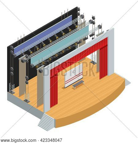 Stage For Theater Scenes With Scenery Decor Elements And Loop System For Curtains Isometric Poster V