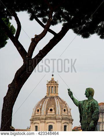 Statue Of Nero Claudius Caesar Augustus Germanicus. Trajans Forum, Rome, Italy