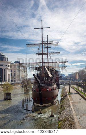 North Macedonia, Skopje, May 2020, Wooden Sailing Ship In Macedonian Capital, Skopje