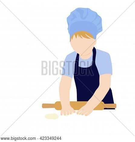 Chef Baker Vector Stock Illustration. Roll Out The Dough, A Recipe For Cooking. Baking, Rolling Pin,