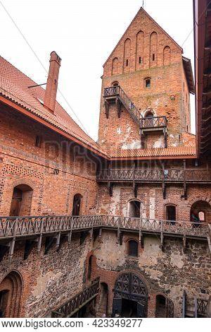 Trakai, Lithuania - February 16, 2020: Reconstructed Trakai Island Castle Courtyard Built Of Stone A