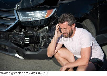 Man With Auto Broken On Road. Car Insurance. Automobile Crash. Vehicle Collision.
