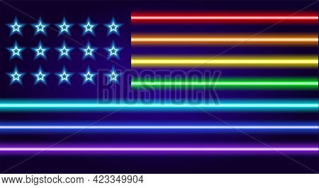 Neon Sign Of The American Flag With Different Color Stripes. Neon Sign Glow-in-the-dark Us Flag With