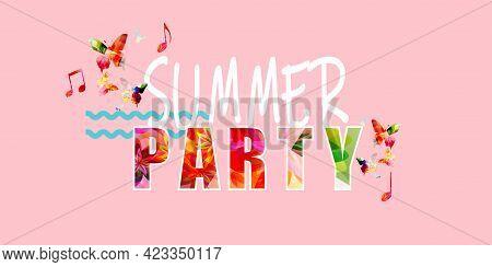 Tropical Summer Landscape Vector Illustration. Travel And Holiday, Summertime Concept. Summer Design