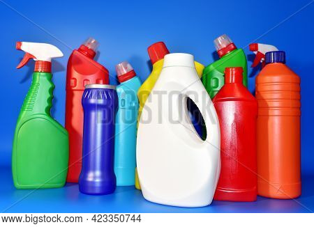 Detergent Bottles. Detergents And Laundry Concept. Household Chemicals For Cleaning. Chemical Liquid