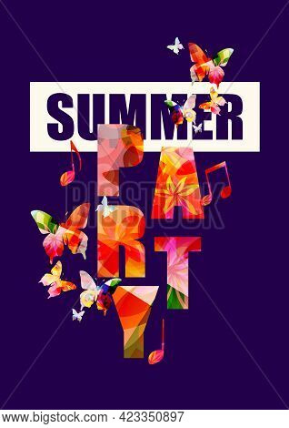 Party Banner Or Card. Typographic Party Vector Illustration Design. Summer Party, Colorful Text, Eve