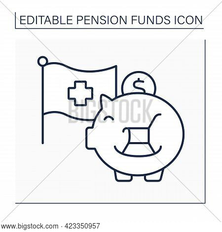Credit Suisse Line Icon. Piggy Bank.create Long-term Value And Mitigate Risks With An Investment Str