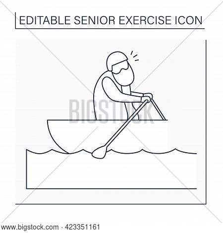 Rowing Line Icon. Man Racing Boat Using Oars. Physical Activity. Prevention Diseases. Sport Life. Se