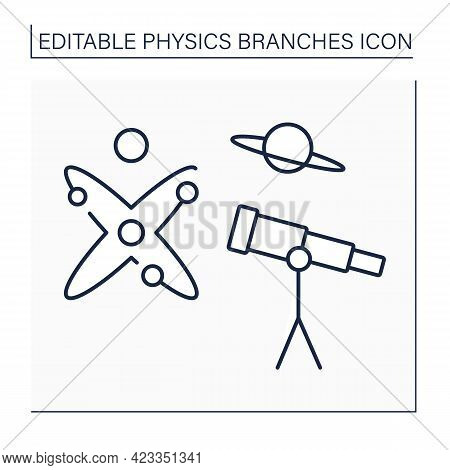Astrophysics Line Icon. Space Science. Physics And Chemistry Laws To Explain Birth, Life And Death O