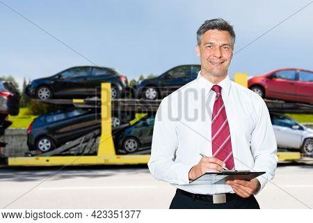 Car Dealer Business. Lorry Carrier Or Truck