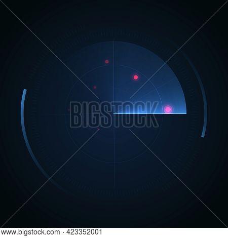 Radar Screen. Hud Display. Vector Radar Interface On Dark Background.