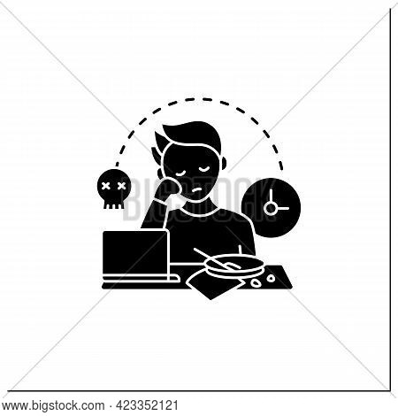 Laziness Glyph Icon.postpone Unpleasant Tasks For Later.delay. Lazy Person. Procrastination Concept.