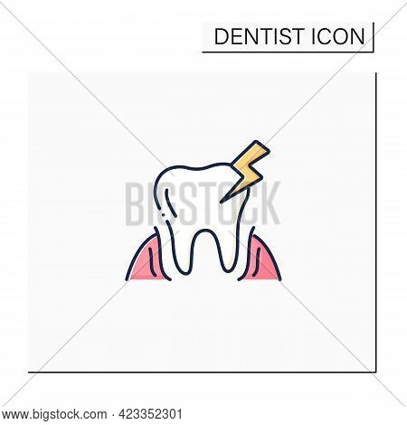 Oral Diseases Color Icon. Treatments Root Canals And Surgeries Dental Oral Illness. Diagnosing Tooth
