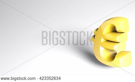 White Background With Golden Yellow Euro Sign - 3d Rendering Illustration