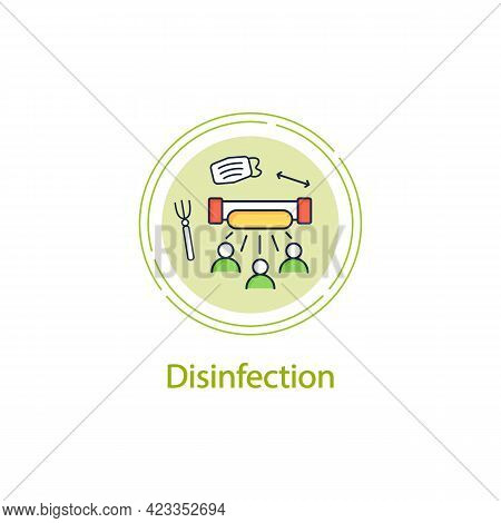Disinfection Concept Line Icon.ultraviolet Light Disinfection People. Health Protection.regulation T