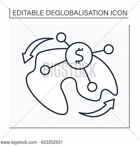 Income Redistribution Line Icon. Leveling Distribution Of Wealth Or Income In Society Through Direct